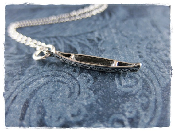 5 Canoe Charm Antiqued Silver Boat Pendant Camping Boating Outdoors Pendants