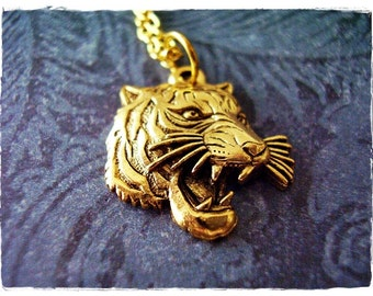 Gold Roaring Tiger Face Necklace - Antique Gold Pewter Roaring Tiger Face Charm on a Delicate Gold Plated Cable Chain or Charm Only