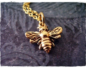 Small Gold Honeybee Necklace - Bronze Honeybee Charm on a Delicate 14kt Gold Filled Cable Chain or Charm Only