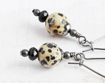 Dalmatian Jasper Earrings, Small Stone Earrings, Black and White Gemstone Dangles, Simple Jewelry
