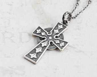 Small Cross Necklace, Antiqued Silver Cross Pendant on Gunmetal Plated Chain, Spiritual Jewelry