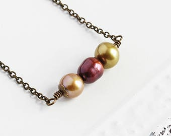 Freshwater Pearl Necklace, Olive Brown & Green, Small Bead Necklace on Antiqued Brass Chain, Dainty Autumn Jewelry