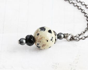 Dalmatian Jasper Necklace, Small Stone Pendant, Black and White Stone Necklace, Simple Jewelry
