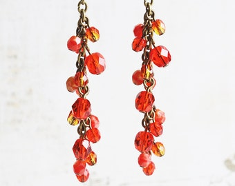 Long Orange Earrings, Orange Dangle Earrings on Antiqued Brass Hooks, Beaded Jewelry