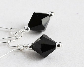 Black Crystal Earrings, Everyday Dangle Earrings, Jet Black Earrings, Simple Jewelry (Choose Silver Plated or Gold Plated)