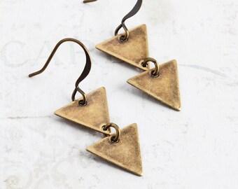 Two Triangle Earrings, Antiqued Brass Earrings, Simple Dangles, Geometric Jewelry