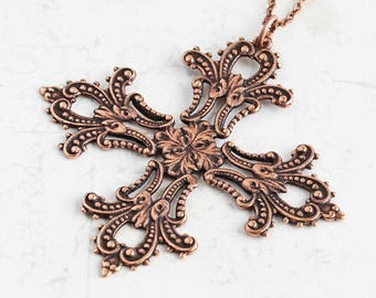 Large Cross Necklace, Oxidized Copper Plated Filigree Cross Pendant, Choose Your Chain Length