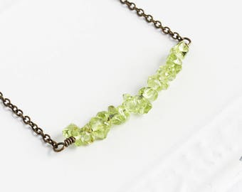 Peridot Necklace, Small Gemstone Bead Bar Necklace with Antiqued Brass Chain, Light Green Necklace, Dainty Jewelry