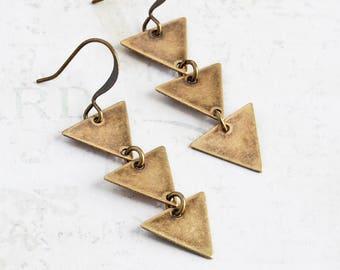 Brass Triangle Earrings, Antiqued Brass Dangle Earrings, Modern Jewelry (Three Triangle)