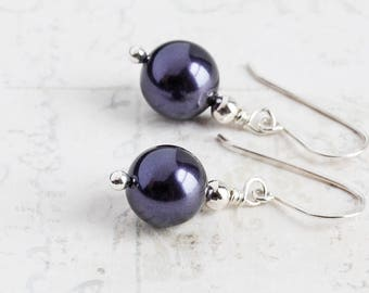 Dark Purple Earrings, Small Pearl Earrings on Sterling Silver Hooks, Swarovski Elements Crystal Pearls, Simple Jewelry