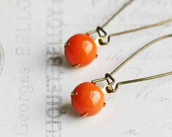 Coral Orange Earrings, Small Rhinestone Earrings, Round Orange Dangles, Vintage Glass, Fall Jewelry