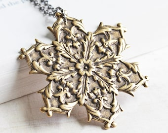 Large Snowflake Necklace, Antiqued Brass Snowflake Pendant on Gunmetal Chain, Rustic Winter Jewelry