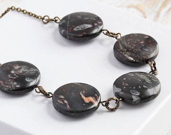 Black Stone Necklace, Oolitic Jasper Coin Bead Necklace on Antiqued Brass Chain, Earthy Gemstone Jewelry