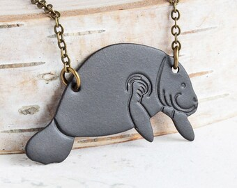 Manatee Necklace, Oxidized Black Brass Pendant on Antiqued Brass Chain, Animal Lover Gift, Hand Patina Jewelry