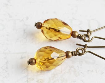 Yellow Teardrop Earrings, Topaz Yellow Earrings on Antiqued Brass Hooks, Faceted Glass, Autumn Jewelry