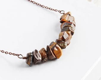 Tiger Eye Necklace, Brown Stone Bead Necklace on Antiqued Copper Plated Chain, Rustic Gemstone Jewelry
