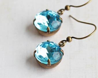Light Blue Earrings, Round Rhinestone Earrings in Antiqued Brass, Aqua Blue Dangles (Choose Your Hook Style)