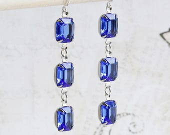 Royal Blue Earrings, Blue Rhinestone Earrings with Silver Plated Hooks, Estate Style Jewelry