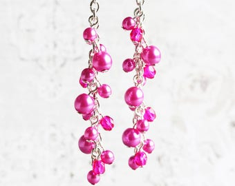 Hot Pink Earrings, Pearl Cluster Earrings on Silver Plated Hooks, Long Pink Earrings, Bridesmaid Jewelry (Choose Your Hook Style)