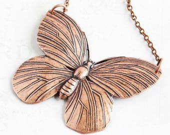 Copper Butterfly Necklace, Large Antiqued Copper Plated Pendant, Insect Jewelry, Butterfly Lover Gift