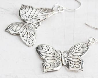 Silver Butterfly Earrings, Antiqued Silver Plated Dangle Earrings, Gifts for Her, Simple Jewelry