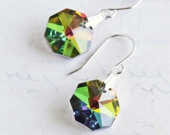 Rainbow Crystal Earrings, Vitrail Octagon Earrings on Silver Plated Hooks, Crystal Dangle Earrings, Colorful Jewelry