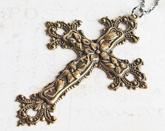 Large Cross Necklace, Ornate Floral Antiqued Brass Cross Pendant on Gunmetal Chain, Religious Jewelry