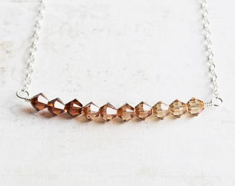 Crystal Ombre Necklace, Tiny Topaz Crystal Necklace, Bead Bar Necklace with Swarovski Elements, Fall Jewelry