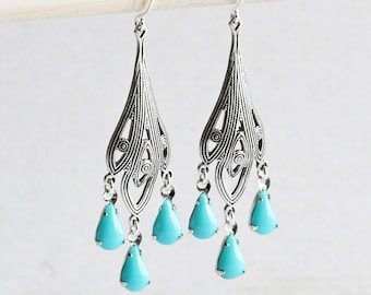 Turquoise Chandelier Earrings with Antiqued Silver Filigree Dangles, Blue Drop Earrings, Boho Chic Jewelry