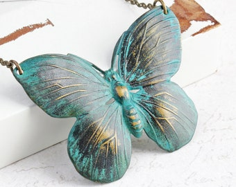 Large Butterfly Necklace, Blue Black Oxidized Patina Pendant on Antiqued Brass Chain, Summer Jewelry