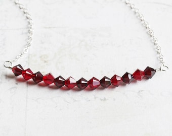 Red Crystal Necklace, Small Bead Bar Necklace, Garnet and Ruby Red Necklace with Swarovski Elements, Dainty Jewelry