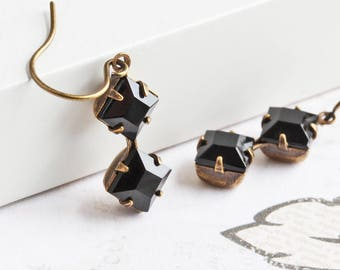 Small Black Earrings with Antiqued Brass Hooks, Square Rhinestone Earrings, Black Dangle Earrings, Everyday Jewelry