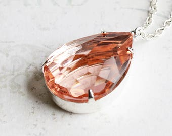 Peach Teardrop Necklace, Large Rhinestone Pendant Necklace on Silver Plated Chain, Spring Jewelry