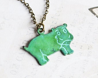 Cute Hippo Necklace, Small Green Patina Pendant on Antiqued Brass Chain, Fun Necklace, Animal Jewelry