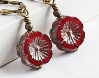 Red Flower Earrings, Dark Red Earrings on Antiqued Brass Hooks, Red Dangle Earrings, Czech Glass, Beaded Jewelry
