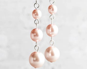 Light Pink Earrings, Pink Pearl Earrings on Silver Plated Hooks, Pale Pink Bridesmaid Earrings, Wedding Jewelry Sets