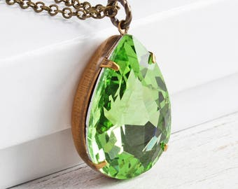 Green Drop Necklace, Large Rhinestone Pendant on Antiqued Brass Chain, Spring Green Necklace, Fashion Jewelry