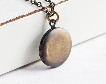 Small Antiqued Brass Locket, Hand Oxidized Round Locket Necklace, Simple Locket Pendant, Keepsake Jewelry