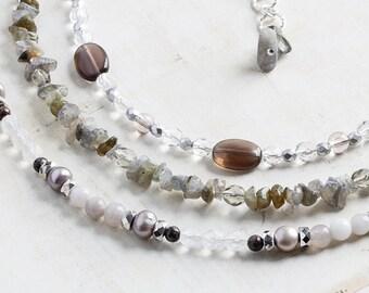 Gray Gemstone Necklace - Three Strand Beaded Necklace with Labradorite, Smoky Quartz, Pearls and Czech Glass, OOAK