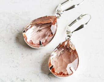 Peach Drop Earrings, Rhinestone Teardrop Earrings on Silver Plated Hooks, Prom Jewelry