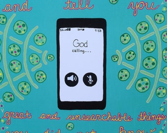 Cell Phone - iphone - android - God - Jeremiah 33 3 - Call to Me and I Will Answer You and Tell You Great and Unsearchable Things - Pop Art