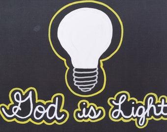 Light Bulb - God Is Light - Christian Art - Pop Art - 1 John 1 5 - Bible Verse - Darkness