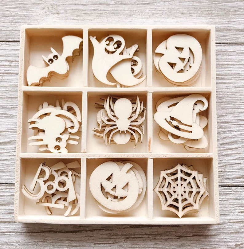 Crafting Supplies Spider Pumpkin Bat Itty Bitty Laser Cut Halloween Wood Shapes Shipping Included Set of 45