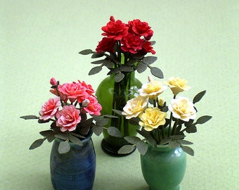 6 Roses Paper Flower Kit  for 1/12th scale Dollhouses, Florists and Miniature Gardens