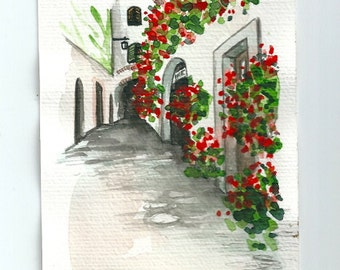 "Original Italian Landscape ART Postalcard Painting Original Watercolor  italian Landscape ""TUSCANY"" Italy"