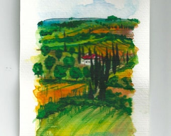 "Made to Order Original Italian Landscape ART Postalcard Painting Original Watercolor  italian Landscape ""TUSCANY"" Italy"
