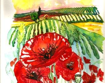 "ART Painting ""9.50 x ""12.50 Original Watercolor Italian Landscape ""TUSCANY"" Italy Italian Landscape & Scenic Made to Order"