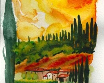 "ART Painting Original Watercolor Italian Landscape ""TUSCANY"" Italy Italian Landscape & Scenic Made to Order"