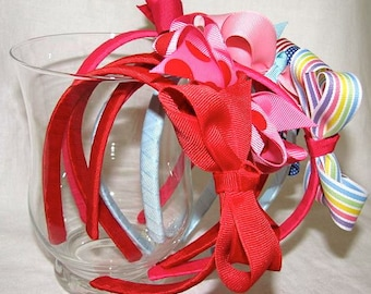 4 Pack- Create Your Own Grosgrain Bow Headbands
