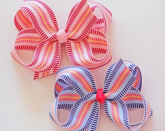 Large Grosgrain Hair Bows in Checkmate Stripe- Blue or Pink